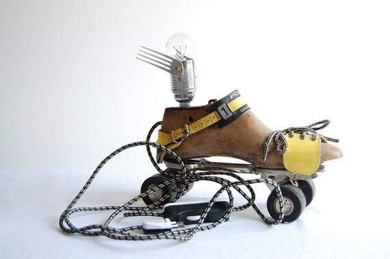 Flying Roller Skate. Handcrafted vintage industrial desk / floor Lamp