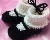 Crocheted Mary Jane little girl's booties