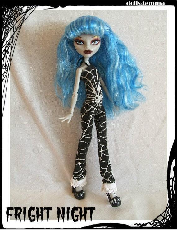 Handmade Gothic Harajuku Fashion W H Naoto Spiderweb Bag: Handmade Goth Jumpsuit For MONSTER HIGH Dolls Custom Fashion