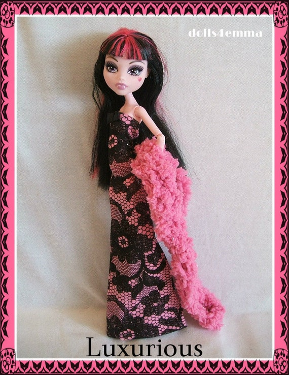 OOAK Handmade Gown & Boa for MONSTER HIGH Doll Custom Fashion Clothes Gown