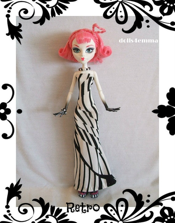 OOAK Handmade Gown & Jewelry for MONSTER HIGH Doll Custom Fashion Clothes Dress