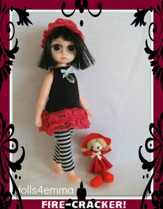 Goth DRESS  LEGGINGS HAIRBAND & Mini Dolly for Vintage 60's Susie Sad Eyes Doll Handmade Original Fashion