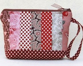 CHRISTMAS SALE, Cosmetic Bag, Wristlet, Red Patchwork Zipper Pouch, Zipper Pouch, Bridesmaid Gifts,
