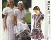 UNCUT McCall's 6944 Girl's Party Flower Girl Dress Pattern Sizes 7, 8, 10