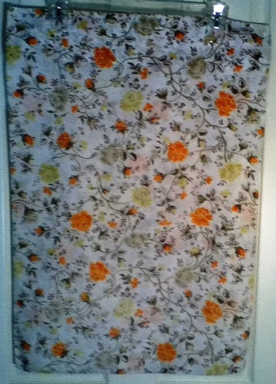 Vintage Floral Pillowcase with Wild Roses in Shades of Orange and Green in Standard Size