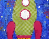 Rocket Mixed Media Canvas