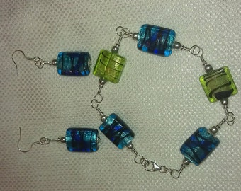 Sterling silver wire wrapped bracelet and earring set