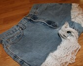 SALE  Vintage High Waisted Denim Shorts with Lace Detail TOMMY HILFIGER