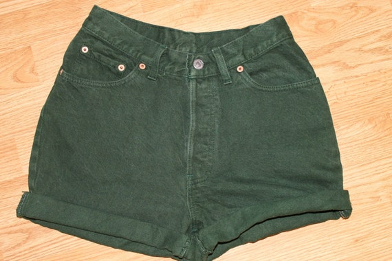 Vintage High Waisted Button-Fly Levi's Green Denim Shorts