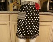 Black and White Dots and Houndstooth With Red Rosette