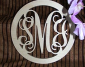 """24"""" Inch Large Wooden Vine Connected Monogram Letters with border, Unfinished,Unpainted"""