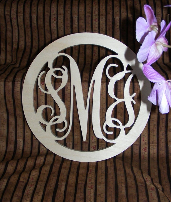 "22"" Inch Large Wooden Vine Connected Monogram Letters with border, Unfinished,Unpainted"