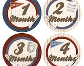 Baby Month Stickers Baseball Boy Baby Shower Gift Growth Monthly Milestone Stickers Baby Accessories 1-12 Months Newborn Photo Prop BMST004