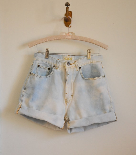 Upcycled Bleached-Out Denim Shorts