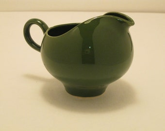 "Vintage Hunter Green  4"" tall porcelain finish pitcher"
