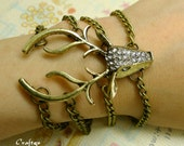 Cool Vintage style White Crystal Mosaic Antique Brass Elk Deer Head Charm Bracelet