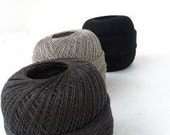 300gr/10,5 oz of organic Linen yarn, 2ply linen yarn, linen thread, black grey deep grey