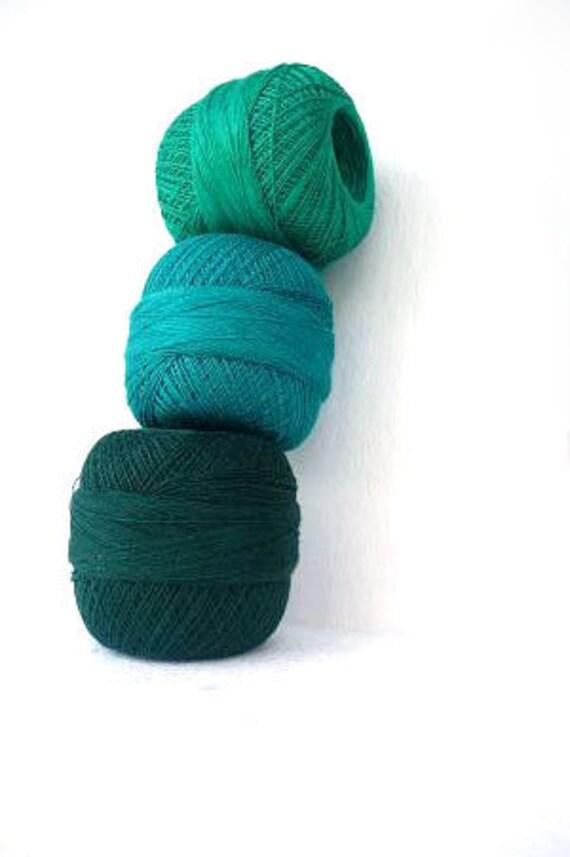 linen thread  for crochet and knitting, linen thread,shades of green , green