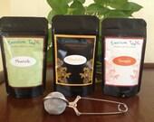 Trilogy set of 3 unique tea blends with infuser