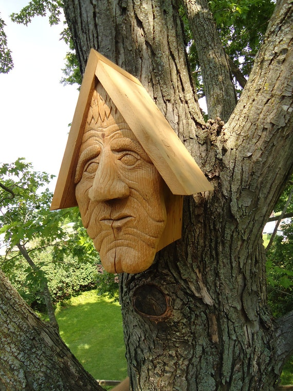 Unique cedar wood birdhouse, hand carved face with a surprise entry