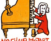 No Chair Mozart - Reduction Linocut Print