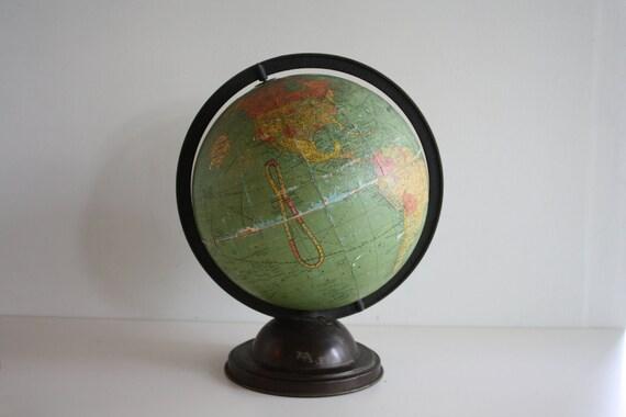 "Vintage 1940's Standard World Replogle Globe 10"""