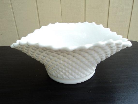 Vintage Milk Glass Hobnail Oval Top Bowl Vase