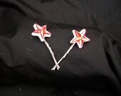 red star gemstone bobby pins