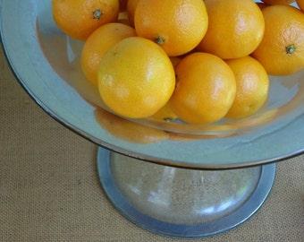Vintage Mercury Glass Pedestal Bowl,  Art Deco, Silver Rimmed, Wedding Reception Decor, Photo Prop