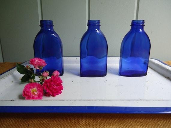 Reserved for Taylor: Vintage Blue Bottles, Apothecary Bottles, Wedding  Vases,  Set of 10