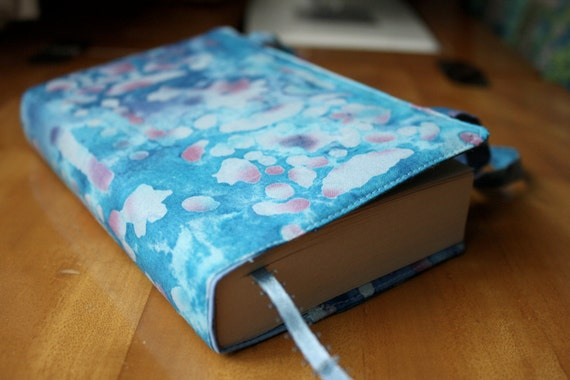 Batik Paperback Book Cover - Blue and Purple Organic Print