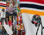 SEXPISTOLS pin attaching DIESEL brand jean tags to SOCK of 3 colors