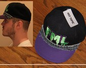FML Hat (HOT TOPIC) with Levi's Denim Trim Attached Around Front (Exceptionally Relevant and Wearable) Great Slimepunk Gift / Unique