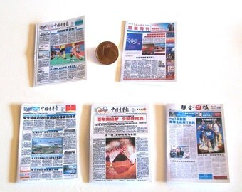 5 Chinese Newspapers - 5 pc - doll house miniature in scale 1/12