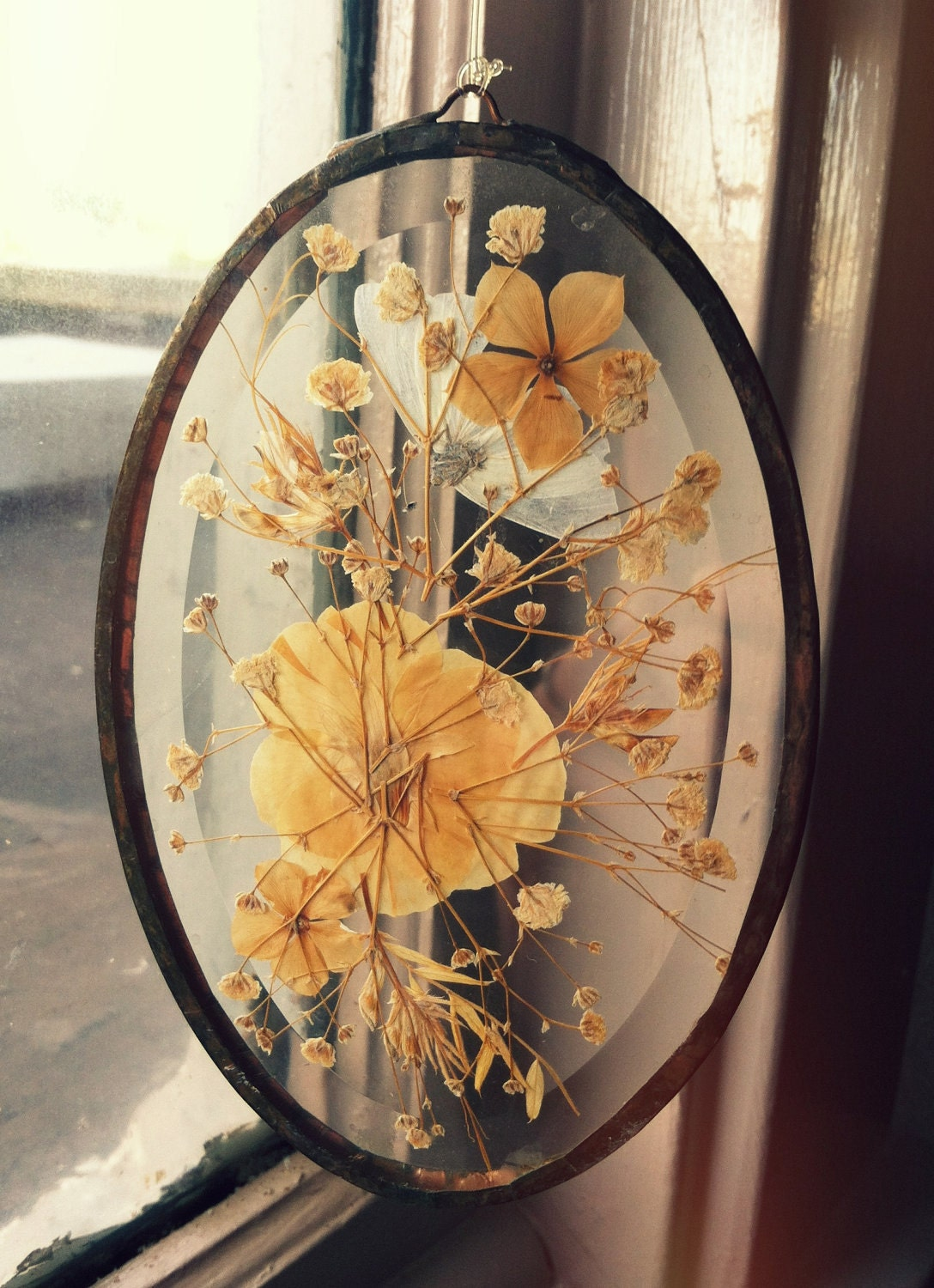 Vintage Pressed Flowers Glass Window Decor By Vintagelamodern