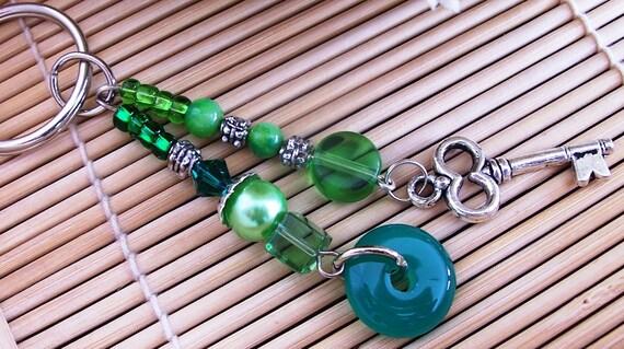 Green jade stone key ring/bag clip key charm - Jade key chain bag charm - iPhone - iPod accessory - bag clip - handbag clip