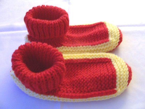 Knitted bright red and yellow acrylic yarn adult sock slippers - red adult booties - red house slippers