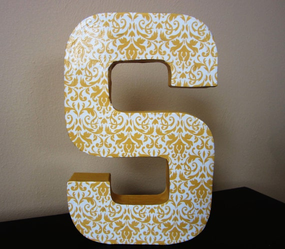 """Yellow and White Paper Mache Letter """"S"""""""