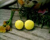 "Yellow Swirled ""Dandelion In the Spring"" Handmade Polymer Clay Earrings"