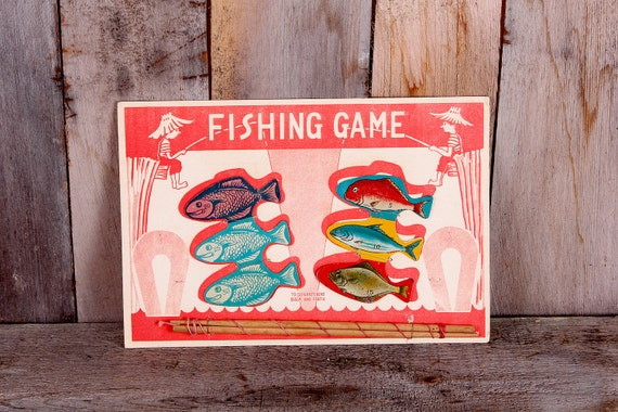 Cardboard Fishing Game Puzzle Colored Lithograph