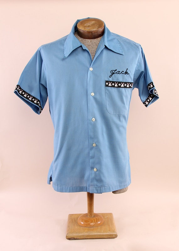 Men's Baby Blue Vintage Bowling Shirt with Embroidery Jack