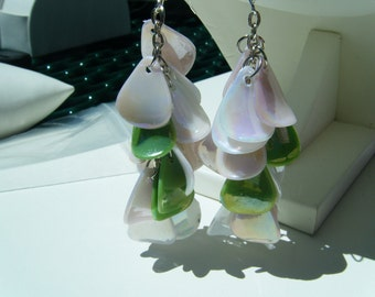 pink, green and white dangle earrings