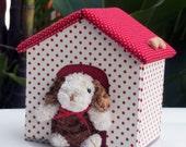 Handmade Fabric Storage Box, dog cabin shape