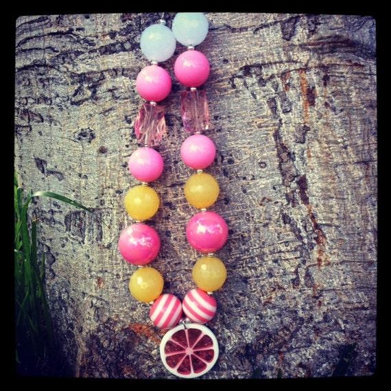 Pink Lemonade chunky beaded necklace
