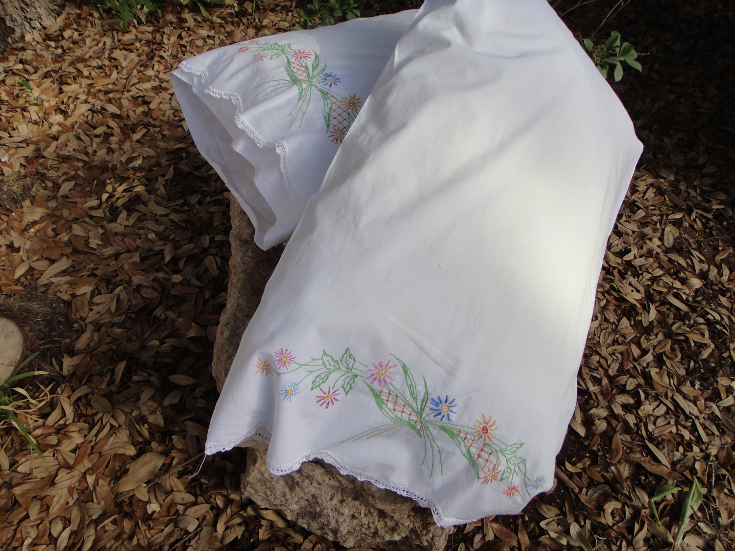 Shabby Chic Woodrose Pillowcases : Shabby Chic Embroidered Pillowcases Vintage Flower