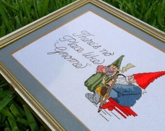 No place like Gnome cross stitch art
