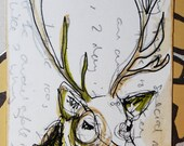 A delightful, intellectual deer in hues of brown and grey. Original fineliner, watercolour and promarker illustration.