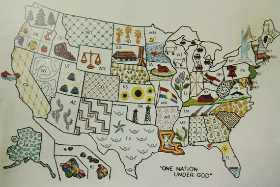 Rare paragon america the beautiful map crewel embroidery large