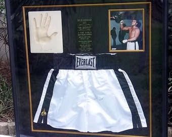 Muhammad Ali Autographed Boxing Shorts, Hand Imprint, Photograph,  Framed Collage - Vintage Sports Memorabilia Boxing REDUCED