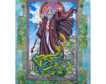 """St. Patrick's Day Irish Art Print Signed and Numbered Limited Edition 33x23"""" of the real St. Patrick. Celtic Art Print, Original Art."""
